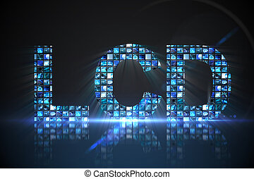 lcd, 作られた, の, デジタル, スクリーン, 中に, 青