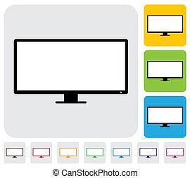 lcd, 또는, 이른다, 바람 빠진 타이어, tv(television), screen-, 단일의, 벡터,...
