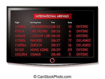 lcd, aeroporto, arrivi