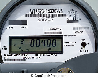 LCD display of smart grid power supply meter - Close-up of...