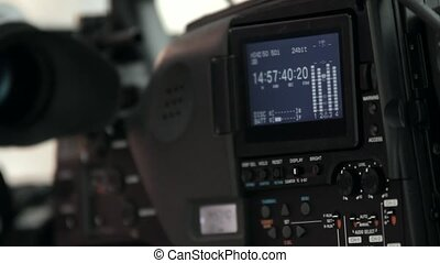 LCD display screen on a High Definition TV camera  with timecode in a studio