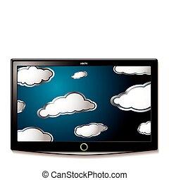 lcd, fernsehapparat, hängen, wolkenhimmel
