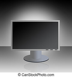 LCD Monitor - A graphic LCD monitor with reflection against...