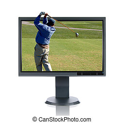 LCD Monitor and Golfer - LCD monitor and golfer isolated...