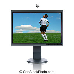LCD Monitor and Soccer Player and Ball