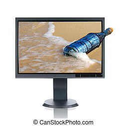 lcd, monitor, flasche