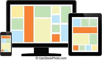 lcd, monitor, mit, tablette, und, telefon