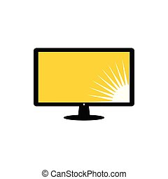 LCD monitor with sun picture at the bottom right of the screen vector