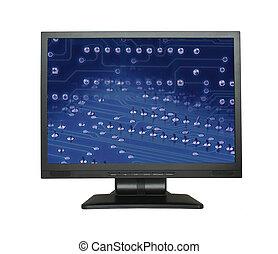 lcd, pantalla, con, electrónico, papel pintado