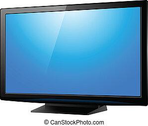 lcd plasma tv, realistic vector illustration.