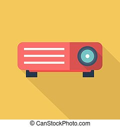 LCD Projector Icon | Set of great flat icons with style long shadow icon and use for multimedia, technology, concept, animation and much more.
