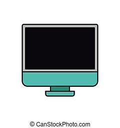 lcd, silueta, monitor, coloridos