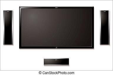 lcd, televisión, con, altavoces
