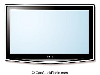 lcd, televisión, pantalla blanca