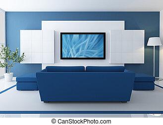 lcd, televisión, salón, azul