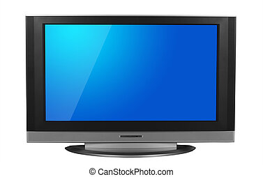 LCD television isolated in white background. Clipping path...