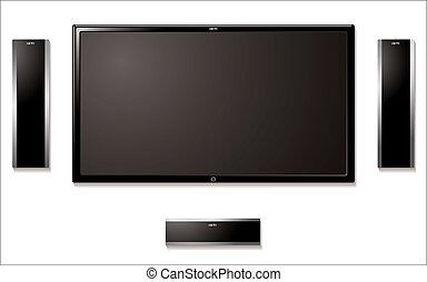 Modern flat screen tft television with surround sound speakers