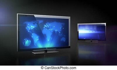 lcd, telewizja, z, bussines, dane