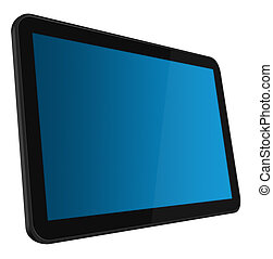 LCD Interactive Touch screen digital tablet with 3 clipping path (outer, inner blue, inner black) isolated on white. XXL size, ultra quality.