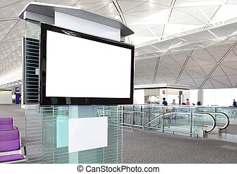LCD TV at airport - LCD TV with empty copy space at airport...