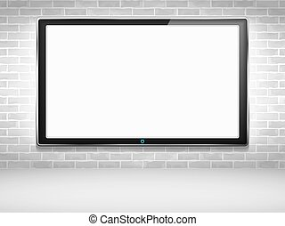 LCD TV on the wall, vector eps10 illustration