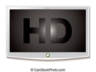 LCD TV HD white - Modern LCD screen with HD text and white...