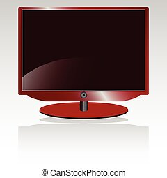 lcd tv in red color illustration
