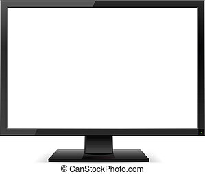 LCD TV monitor with a white screen. Illustration on white...