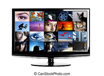 Lcd TV - Modern HD TV showing diferent images. All images ©...