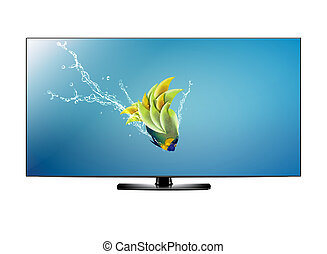 LCD tv screen - Black LCD tv screen and fish with water...