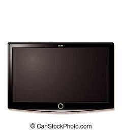 LCD TV wall hang - Black LCD tv screen hanging on a wall...