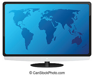 lcd tv with world map