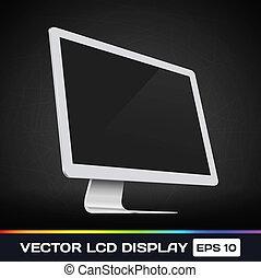 lcd, vector, exhibición, icono