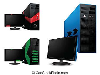 lcd, vetorial, -, monitor, computador
