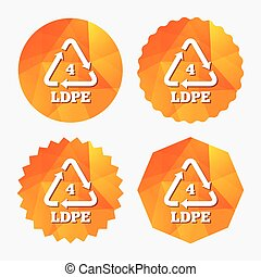 Ld-pe 4 icon. Low-density polyethylene sign. Recycling symbol. Triangular low poly buttons with flat icon. Vector