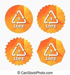 Ld-pe 4 sign icon. Low-density polyethylene. - Ld-pe 4 icon....