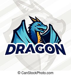 lDragon sport mascot. Football or baseball logotype. College league insignia, School team vector