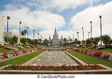 view looking along the garden at the LDS Temple in the SF Bay area