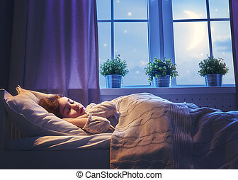 leány, ágy, alvás