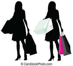 leány, árnykép, bevásárlás