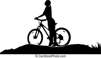 leány, árnykép, bicikli