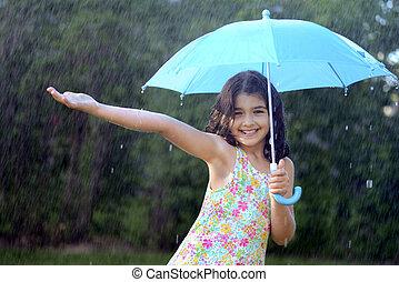 leány, élvez, fiatal, eső