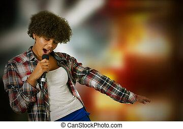 leány, éneklés, noha, backlights
