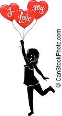 leány, és, három, piros léggömb, szeretlek