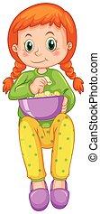 leány, étkezési, pattogatott kukorica, egyedül