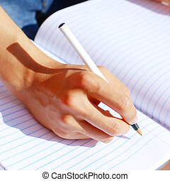 leány, írás, alatt, hangjegy beír