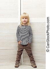 leány, 3, éves, öltözött, mint, egy, fiú