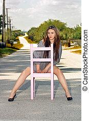 leány, (3), szék, ülés