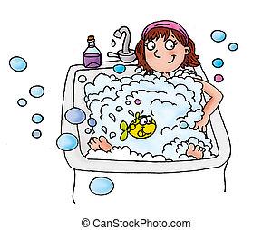 leány, alatt, fürdőkád