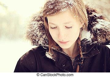 leány, alatt, hó